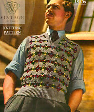 Vintage Tricot pattern-how pour faire 1940 Fair Isle Pull Homme Pull-over de conception