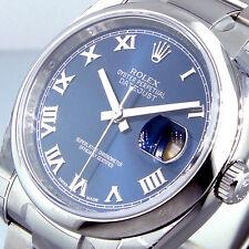 UNWORN ROLEX DATEJUST 116200 STEEL 36 mm OYSTER BRACELET BLUE ROMAN DIAL