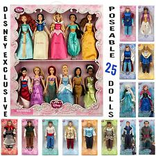 New 25 Authentic Disney Store Princess Classic Doll Set Frozen 4 & 10 Princes