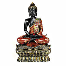 BUDDHA STATUE Meditation Meditating Buddhist Black Gold Resin NEW Deity Figurine