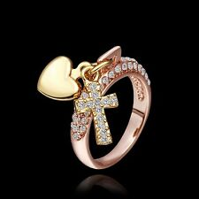 18K Rose Gold Plated  Cross & Heart with Zircon Rhinestone Ring Jewelry UKSeller