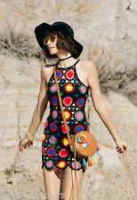 H&M COACHELLA NWT SZ 10 Granny Square Crochet Dress BOHO PARTY Summer Sun Beach