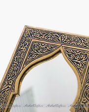 Exotic Moroccan Nights Arabian Arch Design Golden Nickel Wall Mirror 9""