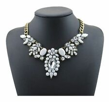 "Collier plastron ""blanc & cristal"" (ras de cou fashion necklace neon)"