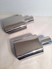 "2 1/4"" x (5 1/2""x 3"")x 9 1/2"" Stainless Rolled Slant Oval Exhaust Tip-2 Pcs"