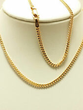 18k Solid Rose Gold Italian Flat Curb Necklace/ Chain 3.38 Grams
