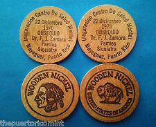Set 2 Ficha CENTRO SALUD Hospital DrZamora MAYAGUEZ Puerto Rico Wood Nickel 1970