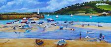 Arte firmado Cornish Faro printsst Ives, Cornwall 10x8 pulgadas