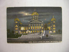 VINTAGE POSTCARD IOWA STATE CAPITOL BY NIGHT IN DES MOINES IOWA UNUSED