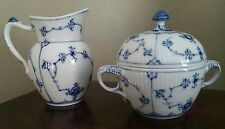 Royal Copenhagen Blue Fluted Plain Sugar Bowl 1/244 and Creamer 1/61 2nd Quality