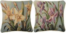 "IRIS & DAFFODIL FLORAL FLOWER TAPESTRY PIPED COTTON BLEND CUSHION COVER 18"" 45CM"