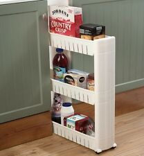 Slide Out Storage Tower Folding 3 Tier Rolling Castor Dolly Trolley Spice Rack
