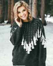 NWT WILDFOX Black Chunky Knit Boho Tassel Jumper Oversize Sweater Sz L