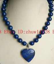 "New 10mm Egyptian Lapis Lazuli Gemstone Beads Heart Pendant Necklace 18"" AAA"