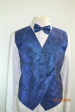 Men's Suit Tuxedo Dress Vest Necktie Bowtie Hanky Metallic Royal Blue Paisley