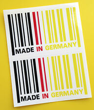 MADE IN GERMANY flag BARCODE sticker decal x2 BMW AUDI MERCEDES DRIFT PORSCHE
