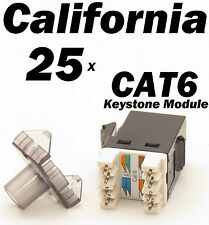 25 X Pcs Keystone 8P8C CAT6 RJ45 Network 110 Style Socket Punch Down Jack Black