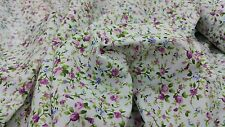 """white poly cotton with beautiful small purple flowers print fabric 44""""wide NEW"""