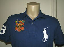 Men's $99. (XL) POLO-RALPH LAUREN Blue Mesh BIG PONY & CREST Polo Shirt