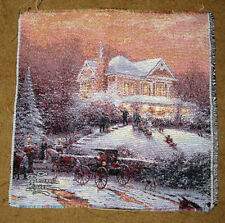 Thomas Kinkade Victorian Christmas II Crafters Unfinished Tapestry Fabric Piece