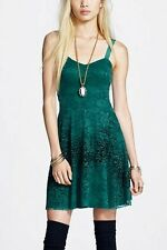 FREE PEOPLE NWT, FLOCKED VELVET LACE DRESS IN EVERGREEN S $108.00