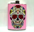Sugar Skull Day of the Dead Flask 8oz Stainless Steel tattoo art Pink Red Roses