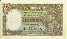 Reserve Bank of India ND 1943 British 5 Rupees Deshmukh King George VI VF+/ EF