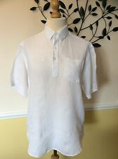 Men's M&S Blue Harbour White Linen Short Sleeve Shirt Size Medium