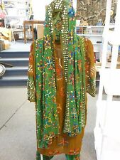 Vintage 3 Piece Theater Sequin Costume Dress Scarf Pants Embellished Arabian