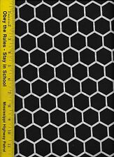 QUILT FABRIC: 100% COTTON, BLACK HONEYCOMB, By The Yard