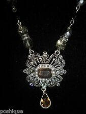Avon Statement Necklace Rhinestone Crystal Black Onyx Silver Vintage Antique