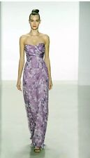 Amsale Strapless Printed Chiffon Gown Silk Dress. Size 4/MSRP $370