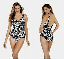 NEW!  Miraclesuit   SZ 12  Oceanus Black White Silver One Piece Swimsuit  $146