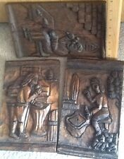 Set Of 3 Handcarved And Stained pictures On Wood about Domestic Early Life