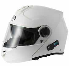 VCAN V270 BLUETOOTH FLIP FRONT MOTORCYCLE MOTORBIKE HELMET WHITE  SMALL