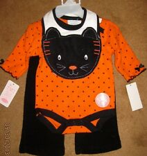 3 Piece Halloween BLACK CAT Super Cute 3/6 Month Outfit BABY Bon Bebe