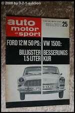 AMS Auto Motor Sport 25/63 Porsche Carrera GTS VW 1500 Ford 12 M