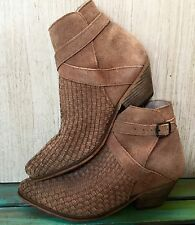 NEW Free People adobe nude tan suede Distress Weaved Ankle Boots 38 $198