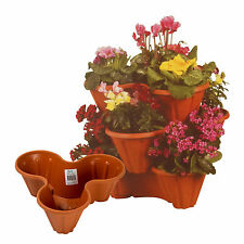 Stackable Garden Planter Herb Flower Pots Indoor Outdoor Stack of 5 W/ Drains