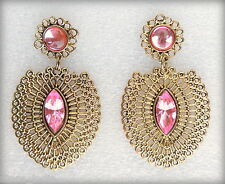 Designer indian bollywood gold plated light pink jewelry stud earrings