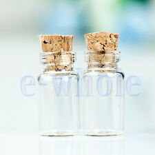 50X Tiny Small Clear Glass Bottle Tube Sample Vials with Wood Caps 11X22mm BE