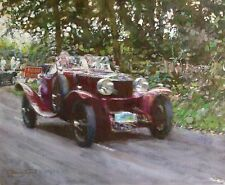 "ORIGINAL DENNIS SYRETT  ""The Kop Hill Climb"" Classic car race 1930s OIL PAINTING"