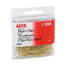 """""""ACCO Paper Clips, Wire, No. 2, 1-1/8"""""""", Gold Tone, 100/box"""""""