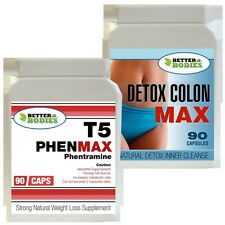 T5 90 PHENMAX PHENTRAMINE STRONG DIET WEIGHT LOSS PILLS + 90 DETOX COLON CLEANSE