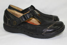 CLARKS UNSTRUCTURED T STRAP MARY JANE WOMEN'S 7M BLACK ~LEATHER~ NICE!!