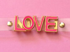 Clear Plastic Strap Rosie Fox Bracelet Bangle with Pink 'LOVE' Word Text