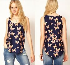 Women Hot Summer Butterfly Print Chiffon Blouse Sleeveless T-Shirt Vest Tank Top