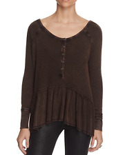 FREE PEOPLE WE THE FREE COASTLINE BLACK LONG SLEEVE THERMAL HENLEY PEPLUM TOP L