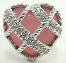 Judith Ripka Sterling Diamonique Pink Quartzite Heart Ring  size 5