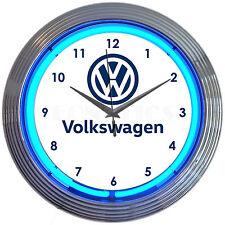 Licensed Volkswagen VW neon clock sign Retro logo Van Beetle bug Bus Racing Golf